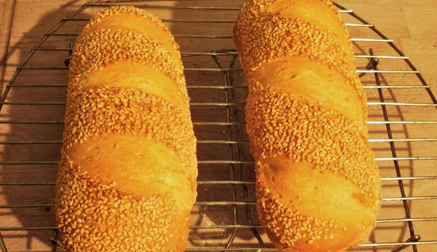 sesame topped white bread rolls