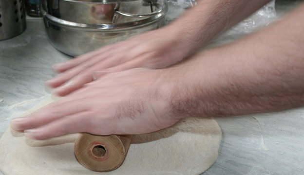 Rolling out your pizza dough