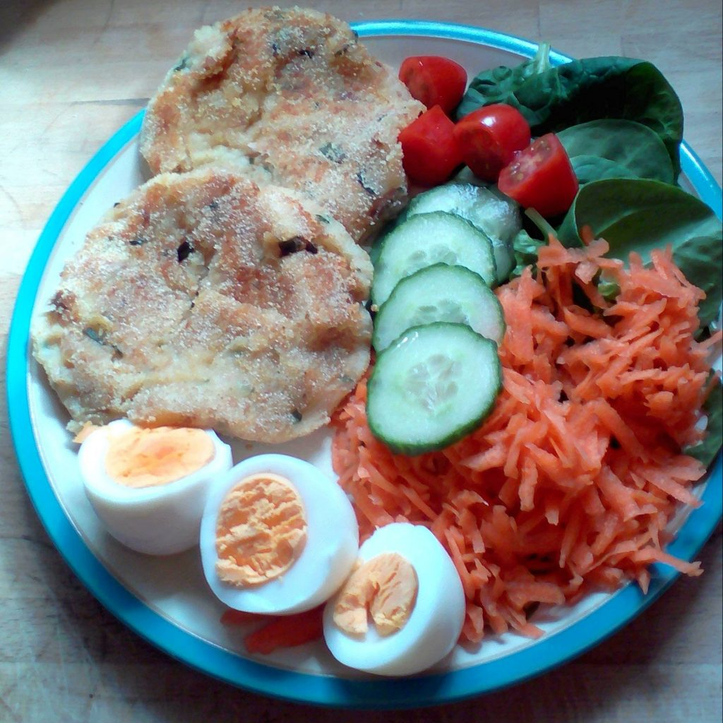 Served with boiled eggs and salad