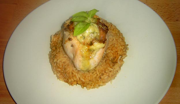 Chicken with stilton and basil