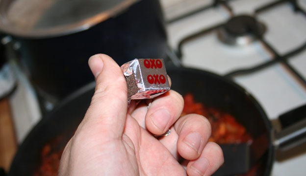 Adding Beef Stock Cube (oxo Cube) to the curry